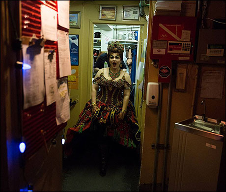 Michele McConnell is all smiles before taking the Majestic stage as diva Carlotta Giudicelli.