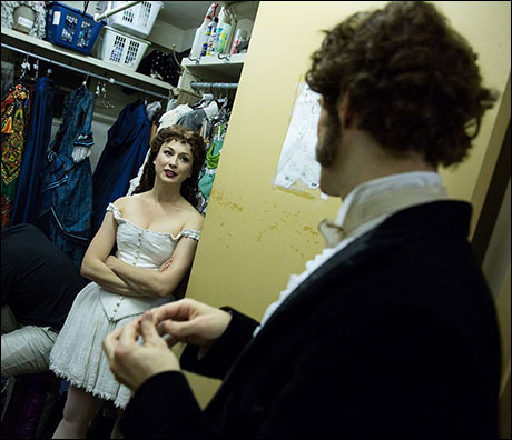 Monsieur Andre, Laird Mackintosh, shares a moment backstage at the Majestic with Jessy Hendrickson.