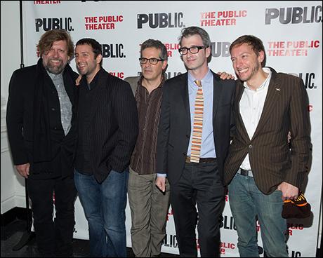 Public Theater Artistic Director Oskar Eustis, Itamar Moses, Jonathan Lethem, Daniel Aukin and Michael Friedman