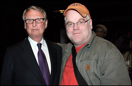 Mike Nichols and Philip Seymour Hoffman at a benefit for LAByrinth Theater Company, 2010