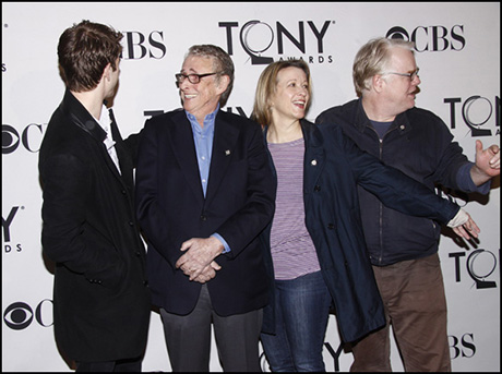 Andrew Garfield, Mike Nichols, Linda Emond and Philip Seymour Hoffman at the 2012 Tony Award luncheon