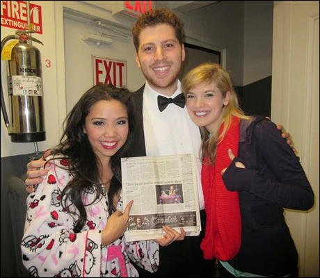 My Ventura County homies Jonalyn Saxer and our drummer Jamie Eblen check out an article in our hometown newspaper about all three of us going to the same middle school, then now performing in the same show!