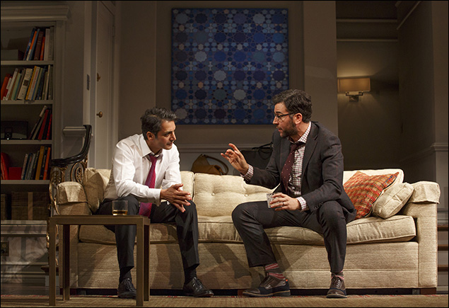 Hari Dhillon and Josh Radnor in Disgraced, nominated for Best Play