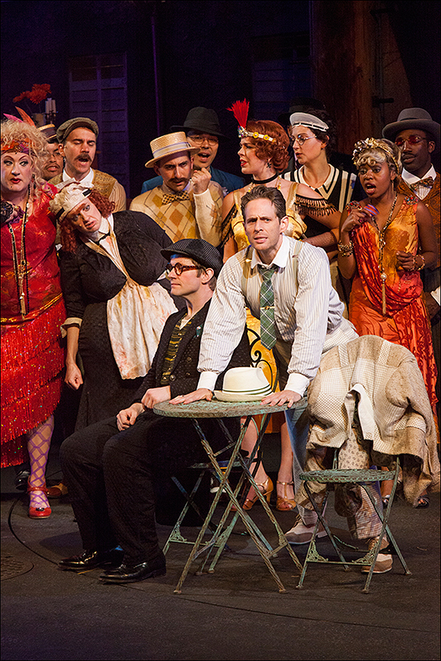 Rory O'Malley and Glenn Howerton with the cast of The Comedy of Errors