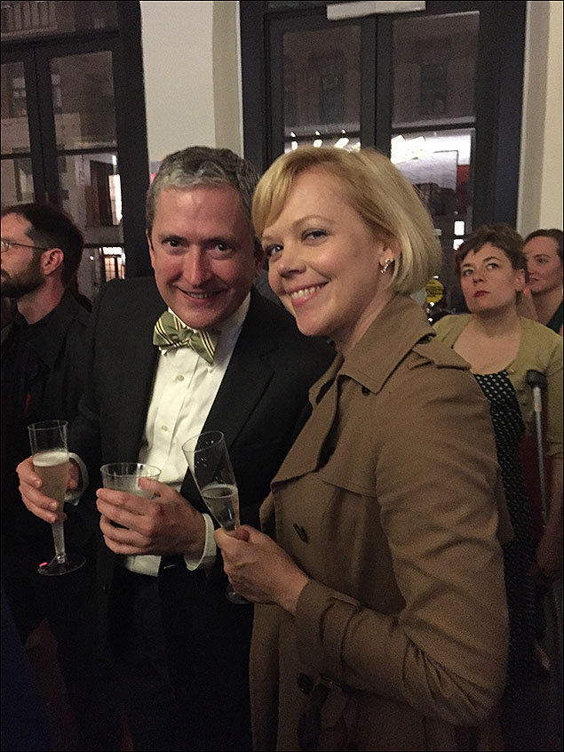 My Cat on a Hot Tin Roof castmate Emily Bergl drops by to help celebrate our opening.  Company Manager Lindsay Hockaday pensively photo bombs us.
