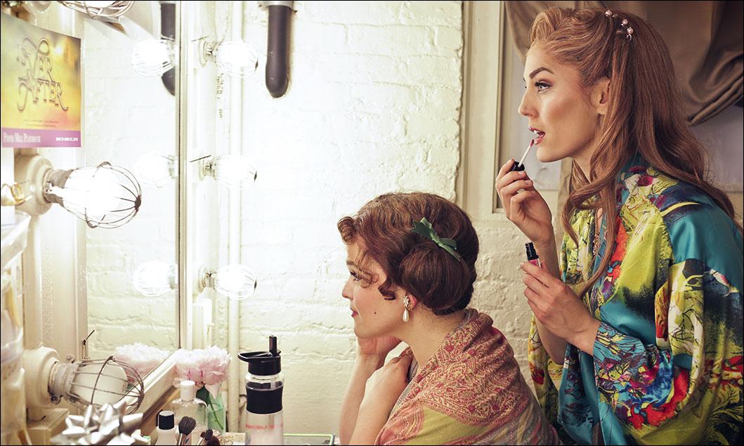 Stepsisters Annie Funke and Mara Davi prepare for Show Number Two.