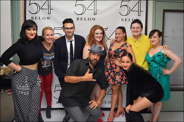 Molly Hager, Julia Mattison, Joe Iconis, Jenny Jaffe, Taimane (front), Elyssa Renee Ramirez, Philip Romano, and Mara Wilson