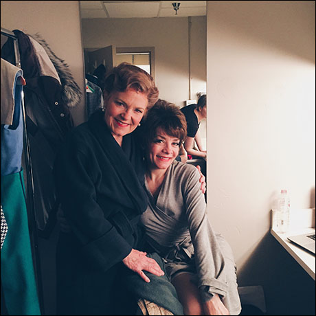 The loveliest of ladies. Anne Gunn who plays Mme. Dindon and Susan Moniz who plays Jacqueline. They have the most well lit and cozy dressing room. Love