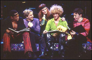 Michael McElroy, Luther Creek, Idina Menzel, Tom Plotkin, and Kevin Cahoon in the Encores! production of Hair