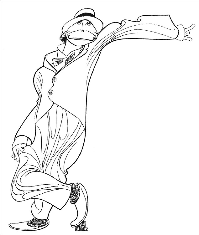 """Bill Irwin, 1982  """"Bill Irwin is a marvelous mime, a classic clown,"""" said Hirschfeld at the time. """"I love to draw him as much as I did Zero Mostel. I like that kind of explosive actor."""" Hirschfeld joked that he did not believe that Irwin had any bones in his body as he seemed so flexible."""
