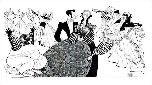 Bloomer Girl  Richard Huey, David Brooks, Celeste Holm, and Joan McCracken, 1944  Hirschfeld never stopped experimenting and collaged a doily as Celeste Holm's dress in this drawing. He emphasized the dress as it played an important role in Harold Arlen and Yip Harburg's musical comedy about a hoopskirt manufacturer on the eve of the Civil War, his daughter, and her aunt, who invents bloomers. The authors too were experimenting as they dealt with serious subjects, such as the emancipation of both women and slaves, in music and lyrics in the hit show.