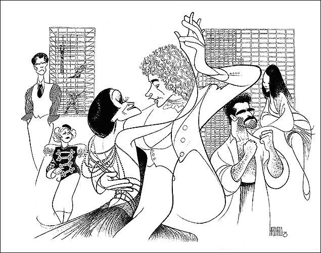 "Kiss of the Spider Woman  Herndon Lackey, Merle Louise, Chita Rivera, Brent Carver, Anthony Crivello, Kirsti Carnahan, 1993  Kiss of the Spider Woman's librettist, Terrence McNally, wrote, ""No one 'writes' more accurately of the performing arts than Al Hirschfeld. He accomplishes on a blank page with his pen and ink in a few strokes what many of us need a lifetime of words to say. He gets to the essence of his subject with an economy that should be the envy of most wordsmiths."""