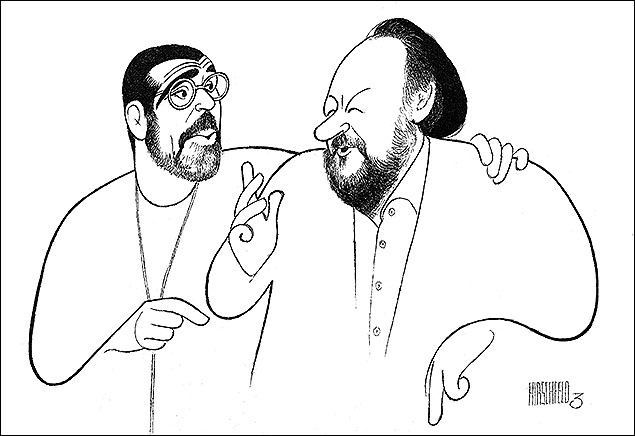 "David Mamet and Ricky Jay, director and star of On the Stem, 2002 When David Mamet and Ricky Jay came to Al's studio to pose for a drawing in 2002, it was the night of the opening of On the Stem, a magic show by Jay, directed by Mamet. Their conversation about vaudeville and magic acts, was printed verbatim in the Times with this sublime drawing of the duo. When he returned home, Jay, a man who had seen—and seen through— a lot of wonders, said,  ""Wasn't that amazing hearing Hirschfeld? A guy like that, you know, he was there, he can remember those stories, a lot of which are really disappearing. It's so important, because he's able to bridge that gap between what Broadway used to be and what it is now."" Al turned 99 five days after the piece was published. He had been drawing Broadway since he was 23."