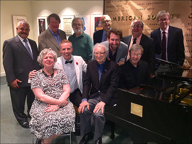Back row: (left - right) Elliot H. Brown, Andre Bishop, John Weidman, Richard Maltby, Jr., Richard Terrano, Patrick Cook  Front row: (left - right) Sarah Douglas, Sheldon Harnick, Maury Yeston