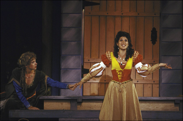 Kathleen McNenny and Marisa Tomei in the New York Shakespeare Festival production Comedy of Errors.