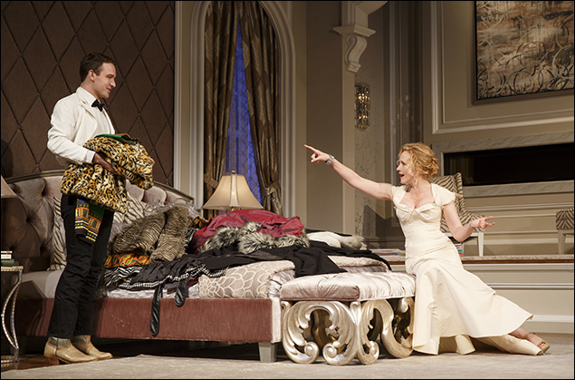 Micah Stock (left, with fellow castmate Katie Finneran), nominated for Best Performance by an Actor in a Featured Role in a Play as Gus P. Head in It's Only A Play