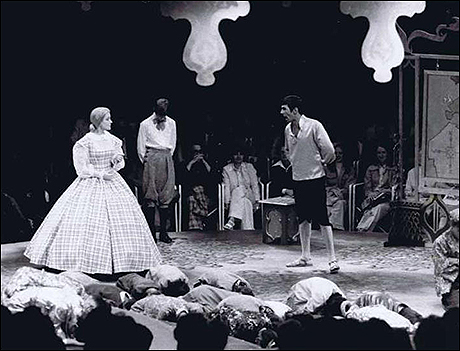 Leonard Nimoy as The King in The King and I with Anne Jeffreys as Anna and Jon Potter as Louis
