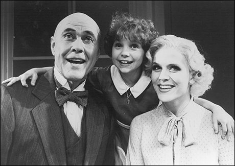 Harve Presnell, Kathryn Zaremba and Marguerite MacIntyre in the 1993 sequel Annie Warbucks Off-Broadway