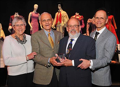 Linda Hardberger, Mel Weingart and Robert Perdziola with L.B. Tobin Awardee, Douglas W. Schmidt