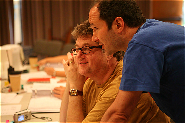 """Theatre Lab Fellows Robert L. Freedman and Steven Lutvak discussing a scene of A Gentleman's Guide to Love and Murder"""" at the 2006 Theatre Lab"""