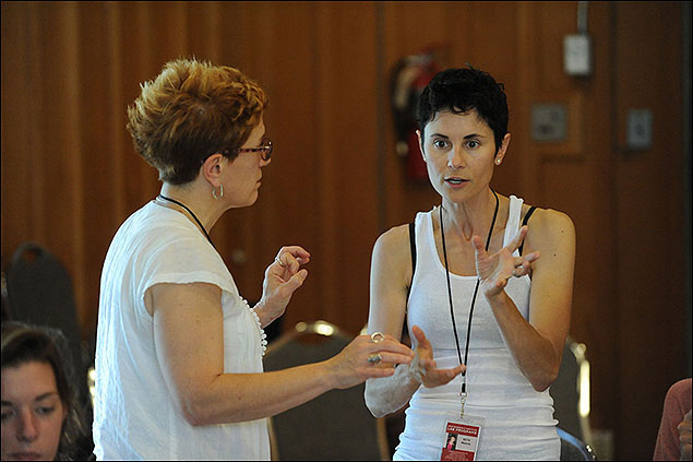 Lisa Kron, Theatre Lab Fellow on Fun Home, and actress Beth Malone at the 2012 Theatre Lab.