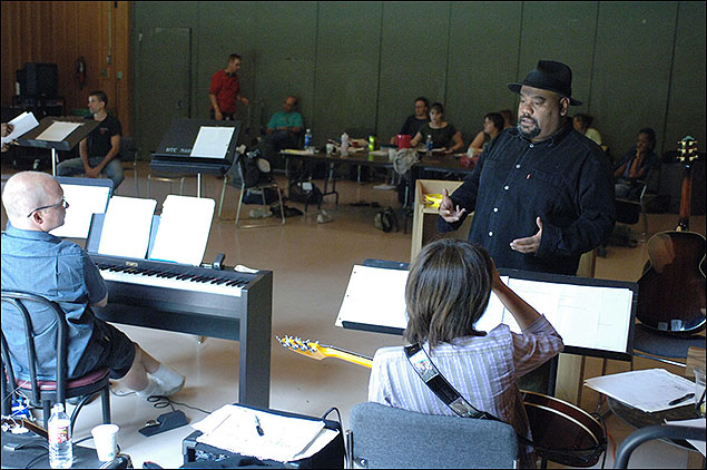 Stew and Heidi Rodewald rehearse Passing Strange with the band at the 2005 Theatre Lab