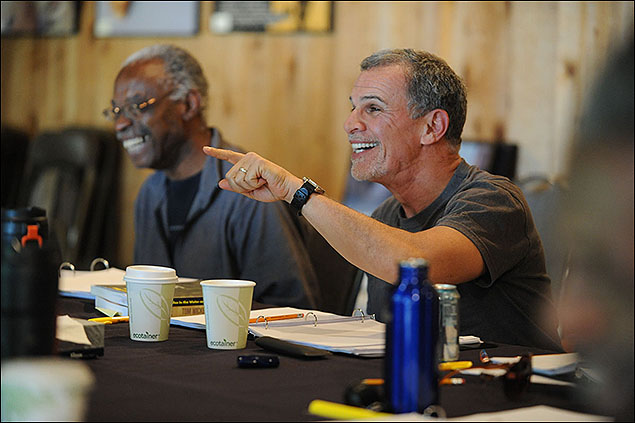 Creative Advisor Carlyle Brown and actor Tony Plana rehearsing ToasT by Lemon Andersen at the 2012 Theatre Lab