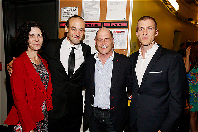 """Linda Brettler, cast member Charlie Hofheimer, """"Mad Men"""" creator Matthew Weiner and cast member Patrick Heusinger"""