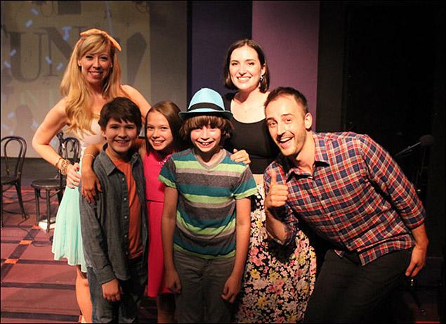 Host Emily McNamara with guest judges  Eli Tokash, Grace Matwijec, and Nicky Torchia, and the night's winners, Christiana Cole and Joe Kinosian