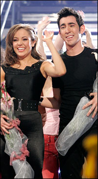 Laura Osnes and Max Crumm, upon winning the <I>Grease</I> casting competition.