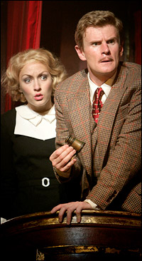 Jennifer Ferrin and Charles Edwards in Boston's <i>The 39 Steps</i>.