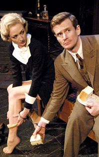 Rachel Pickup and Charles Edwards in the London production of <i>The 39 Steps.</i>
