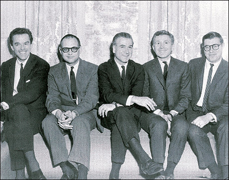 The creative team behind Strouse's first big Broadway hit, Bye Bye Birdie. (L-R): Director/choreographer Gower Champion, composer Charles Strouse, producer Ed Padula, book writer Michael Stewart and lyricist Lee Adams. 1960
