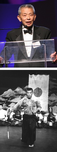 From Top: Mako at the East West Players' 2006 Visionary Awards Dinner; Mako in East West Players' 1988 production of <I>Mishima</I>.