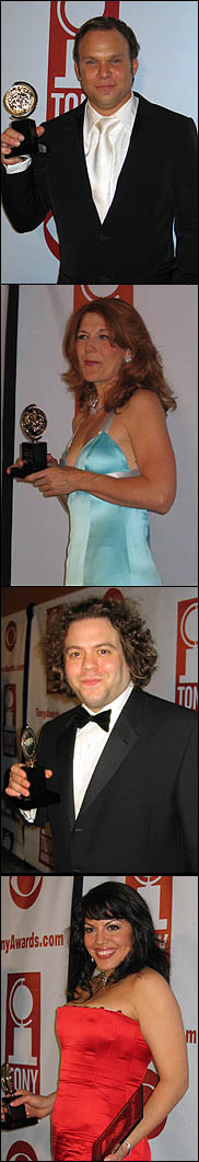 Top to Bottom: 2005 Tony winners Norbert Leo Butz; Victoria Clark; Dan Fogler; Sara Ramirez
