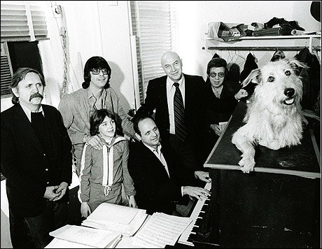 Backstage at Annie. (L-R): Thomas Meehan (book writer),
