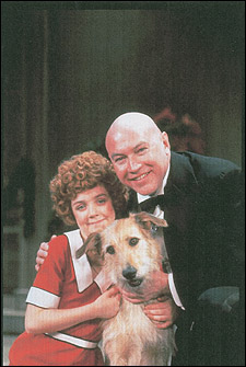 Andrea McArdle, Sandy and Reid Shelton in Annie. 1979, Alvin Theatre.