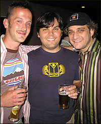 (L-R) Jeff Whitty, Robert Lopez and Jeff Marx at the <I>Avenue Q</I> third anniversary party.