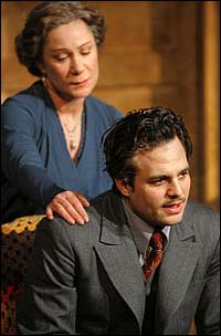 Zoe Wannamaker and Mark Ruffalo in <I>Awake and Sing!</I>.