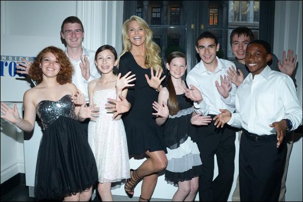 Christie Brinkley and students