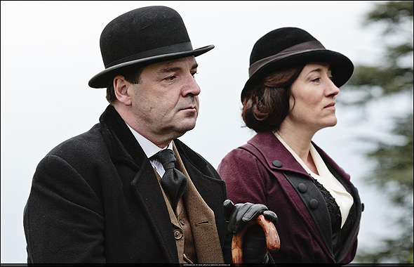 "Brendan Coyle, Outstanding Supporting Actor in a Drama Series Nominee as ""John Bates"" in Downton Abbey, shown here with Maria Doyle Kennedy."
