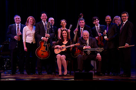 The cast and creative team of the Bucky Pizzarelli tribute concert