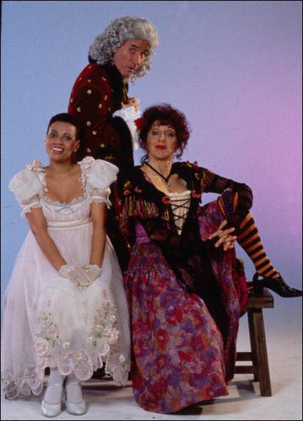 Jim Dale, Andrea Martin,and Harolyn Blackwell