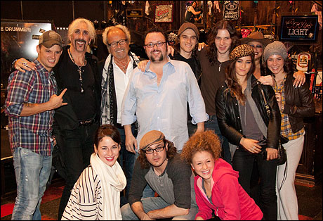 Dee Snider and Mick Jones with the cast of Rock of Ages