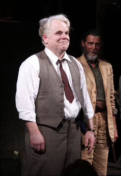 Philip Seymour Hoffman during the opening night curtain call for the 2012 Broadway revival Death of a Salesman.