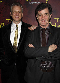 Roger Rees (right) with <i>The Addams Family</i> co-librettist Rick Elice.