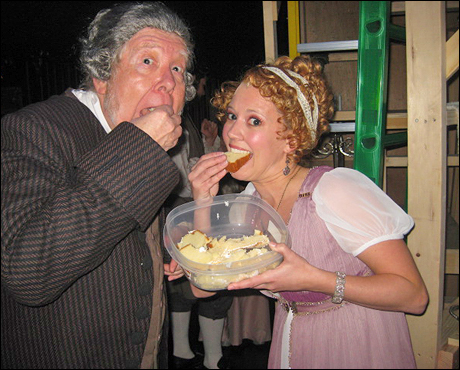 ...and run straight to the leftover cake from Act One! This is where you can usually find Richert Easley too, who plays my dad. Like father, like daughter!