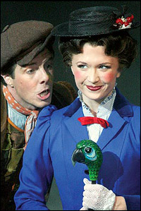 Gavin Lee and current <i>Mary Poppins</i> Scarlett Stralen.