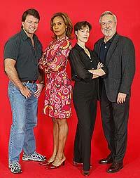 (l-r) Peter Reardon, Cheryl Freeman, Nancy Hess and Gannon McHale as the teachers in <i>Fame on 42nd Street</i>.