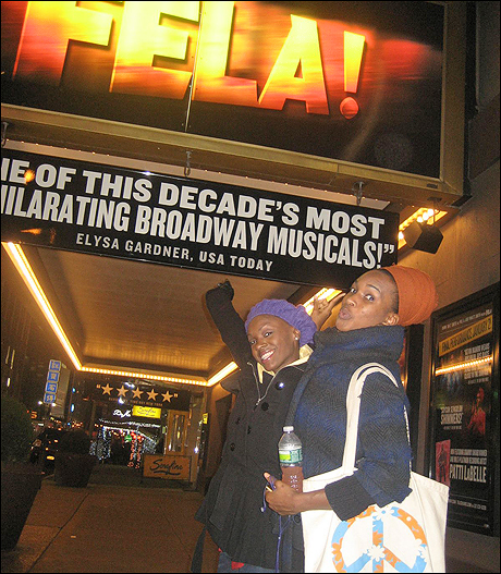 Elasea Douglas and I take a moment under the Fela! marquee!